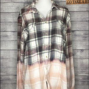 Upcycled Distressed Bleached Plaid Flannel SZ XXL